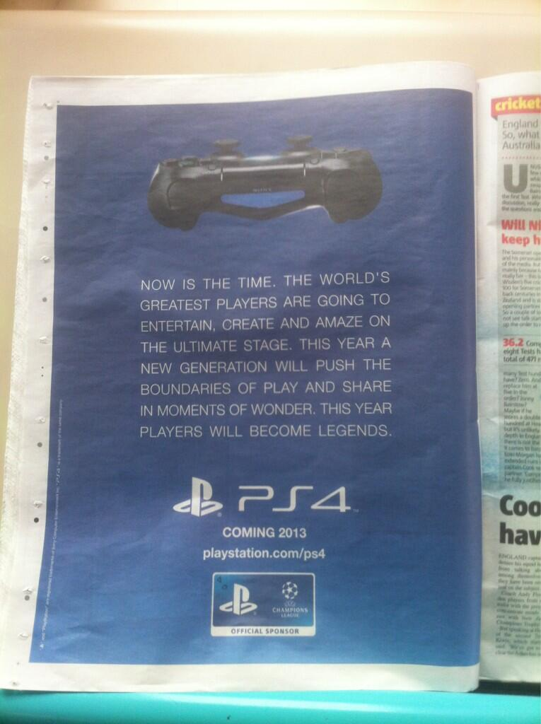 UK Newspaper PS4 Advert Suggests a 2013 Release Date for UK